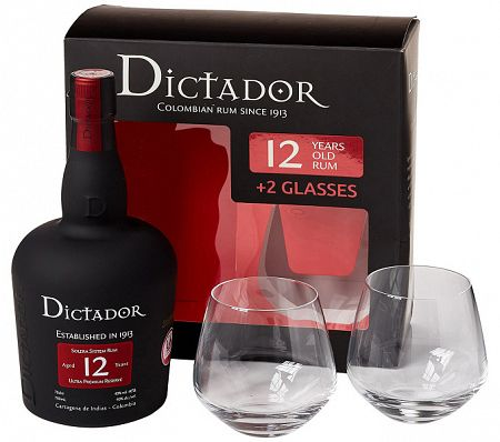 Dictador 12 ročný s 2 pohármi 40% 0,7l