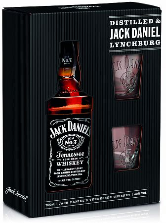 Jack Daniels s 2 pohármi - krabička 40% 0,7l