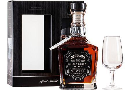 Jack Daniels Single Barrel s pohárom 45% 0,7l